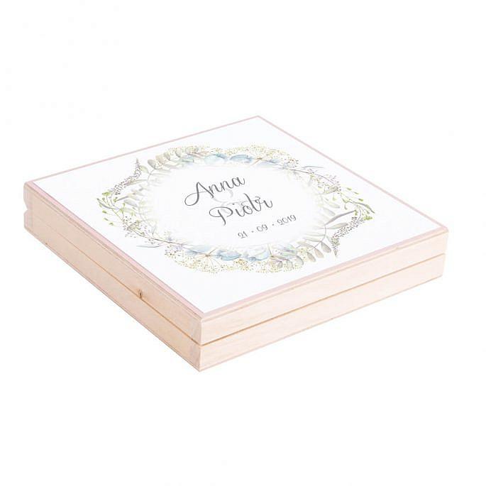 Eleganckie drewniane pudełko podziękowanie zaproszenie dla rodziców motyw kwiatowy kolorowe