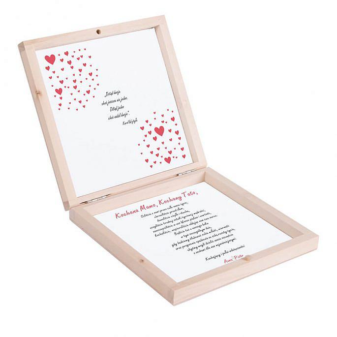 Eleganckie drewniane pudełko podziękowanie zaproszenie dla rodziców motyw love serca