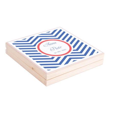 Eleganckie drewniane pudełko podziękowanie zaproszenie dla rodziców motyw marynarski morze