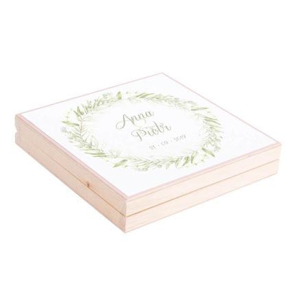 Eleganckie drewniane pudełko podziękowanie zaproszenie dla rodziców motyw kwiatowy zielony greenery