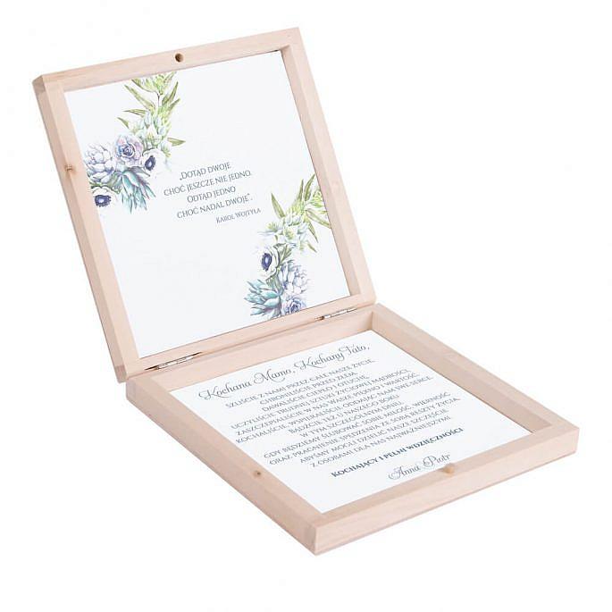 Eleganckie drewniane pudełko podziękowanie zaproszenie dla rodziców motyw kwiatowy anemony sukulenty