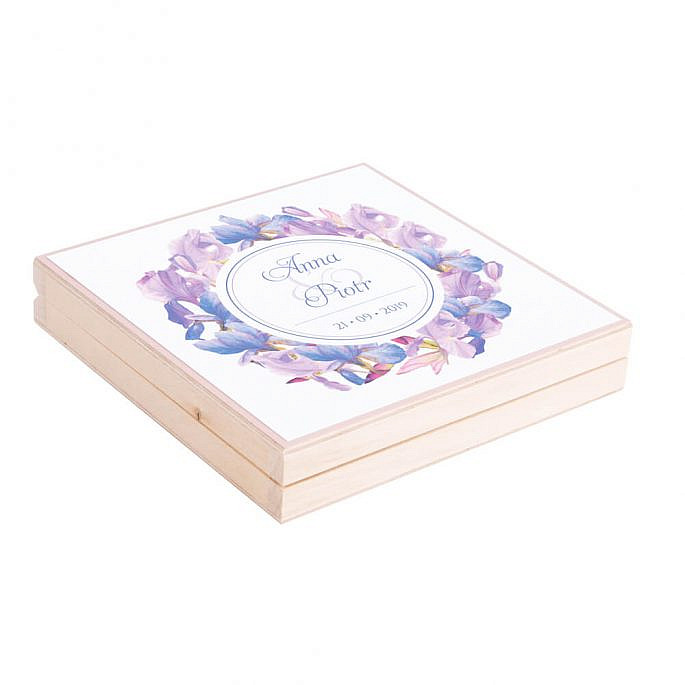 Eleganckie drewniane pudełko podziękowanie zaproszenie dla rodziców motyw kwiatowy irysy