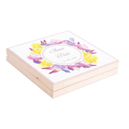 Eleganckie drewniane pudełko podziękowanie zaproszenie dla rodziców motyw kwiatowy irysy żółte