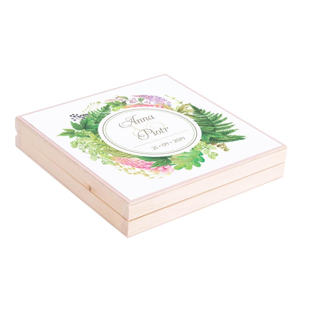 Eleganckie drewniane pudełko podziękowanie zaproszenie dla rodziców motyw kwiatowy paproć łubin
