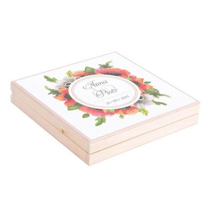Eleganckie drewniane pudełko podziękowanie zaproszenie dla rodziców motyw kwiatowy maki