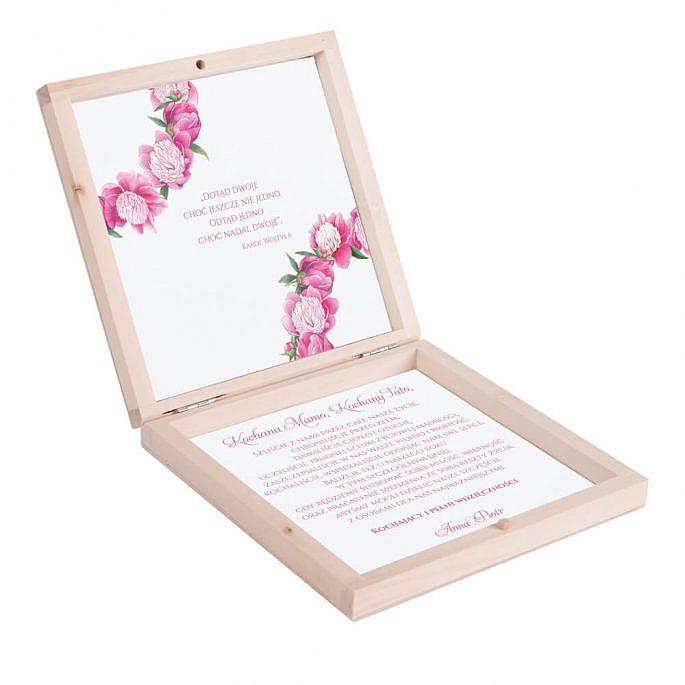 Eleganckie drewniane pudełko podziękowanie zaproszenie dla rodziców motyw kwiatowy piwonie