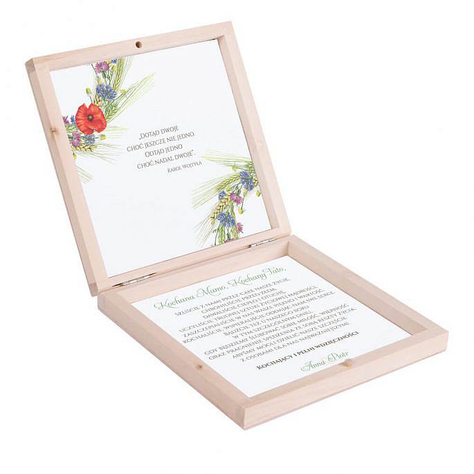 Eleganckie drewniane pudełko podziękowanie zaproszenie dla rodziców motyw kwiatowy polny