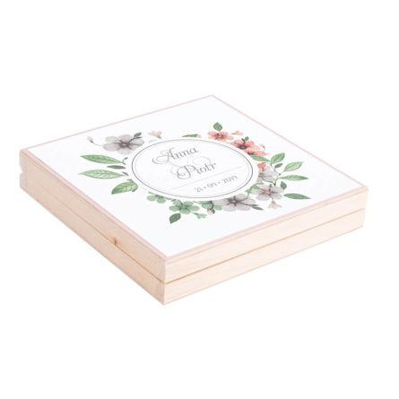 Eleganckie drewniane pudełko podziękowanie zaproszenie dla rodziców motyw kwiatowy retro