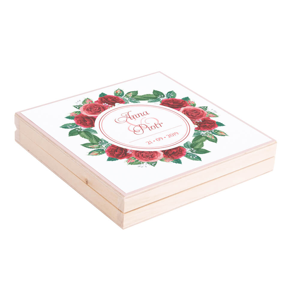 Eleganckie drewniane pudełko podziękowanie zaproszenie dla rodziców motyw kwiatowy róże