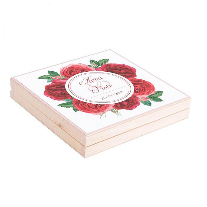 Eleganckie drewniane pudełko podziękowanie zaproszenie dla rodziców motyw kwiatowy czerwone róże