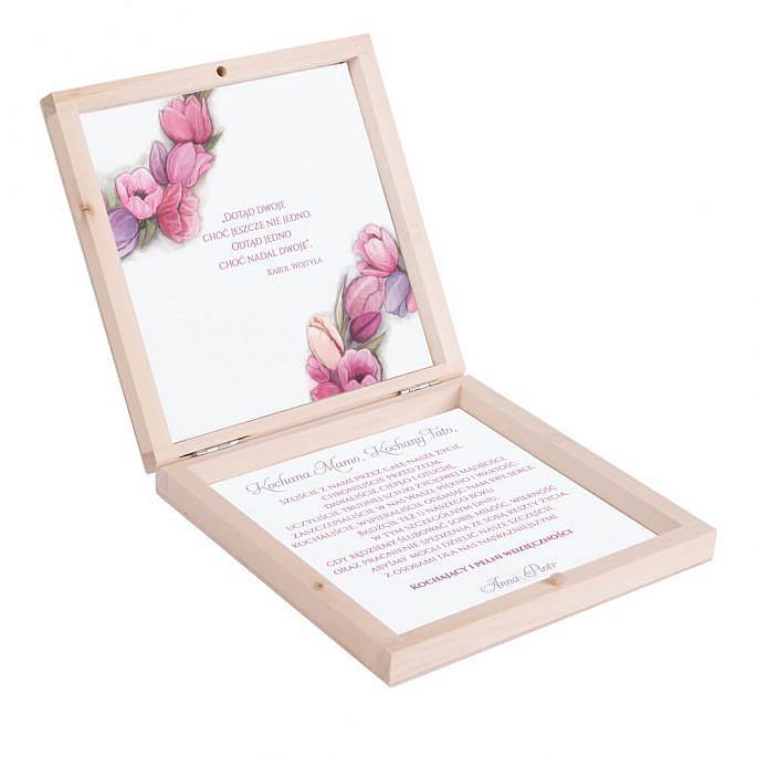 Eleganckie drewniane pudełko podziękowanie zaproszenie dla rodziców motyw kwiatowy