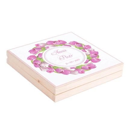 Eleganckie drewniane pudełko podziękowanie zaproszenie dla rodziców motyw kwiatowy tulipany