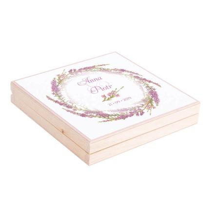Eleganckie drewniane pudełko podziękowanie zaproszenie dla rodziców motyw kwiatowy wrzos
