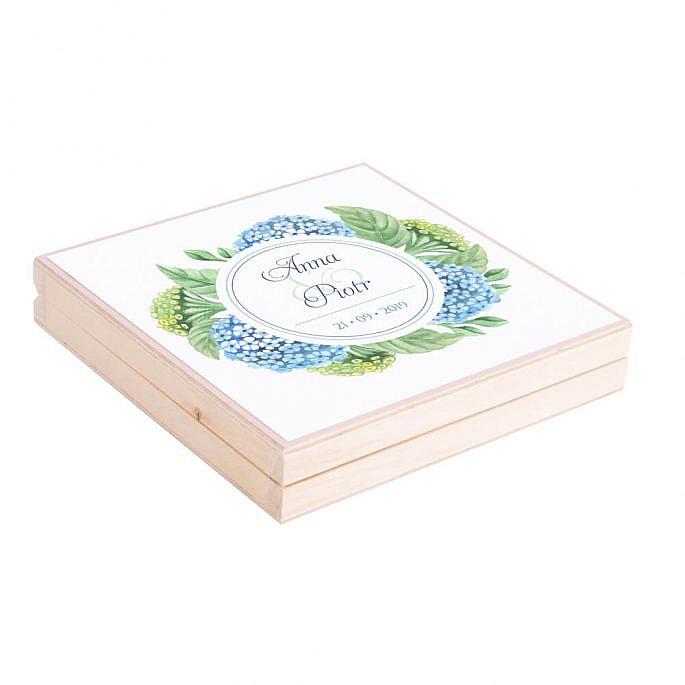 Eleganckie drewniane pudełko podziękowanie zaproszenie dla rodziców motyw kwiatowy hortensja