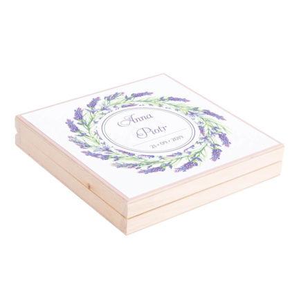 Eleganckie drewniane pudełko podziękowanie zaproszenie dla rodziców motyw kwiatowy lawenda