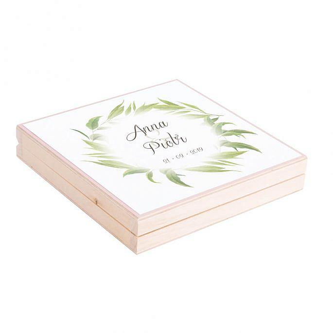 Eleganckie drewniane pudełko podziękowanie zaproszenie dla rodziców motyw kwiatowy liście eukaliptusa