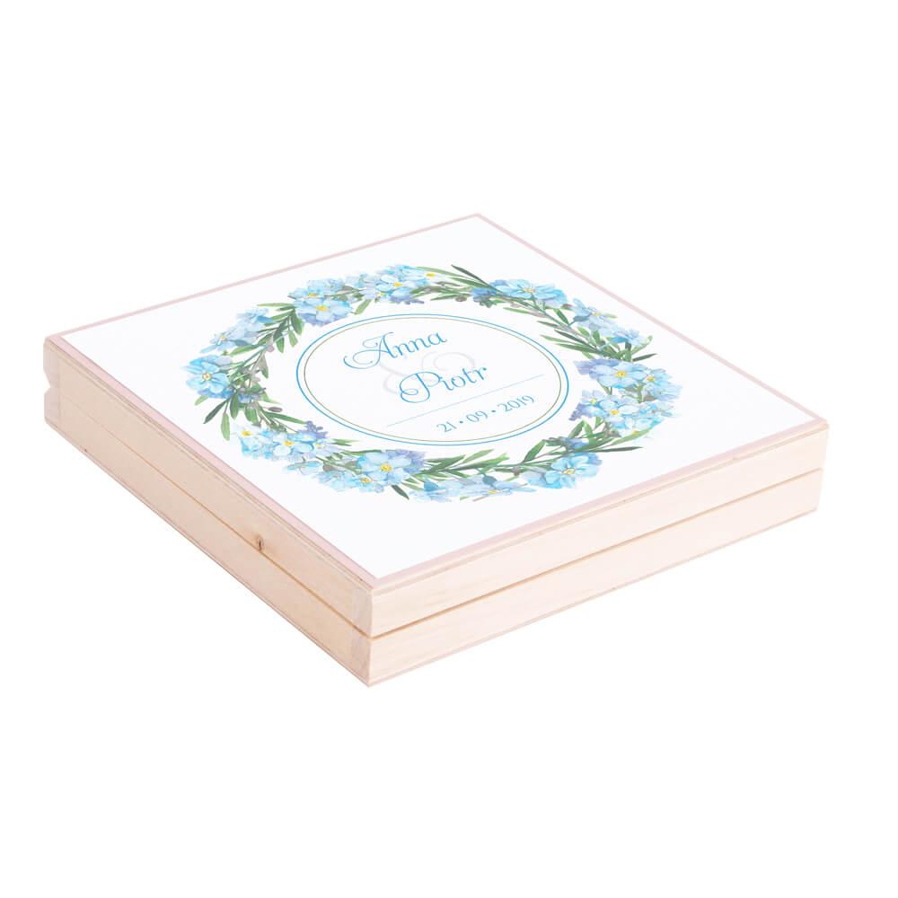 Eleganckie drewniane pudełko podziękowanie zaproszenie dla rodziców motyw kwiatowy niezapominajki