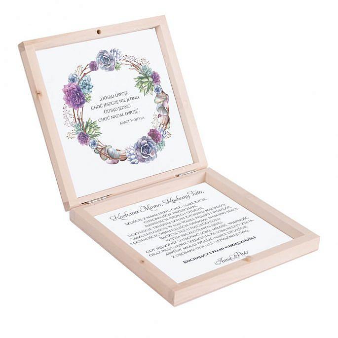 Eleganckie drewniane pudełko podziękowanie zaproszenie dla rodziców motyw kwiatowy sukulenty