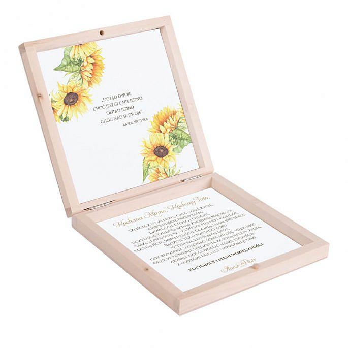 Eleganckie drewniane pudełko podziękowanie zaproszenie dla rodziców motyw kwiatowy słoneczniki