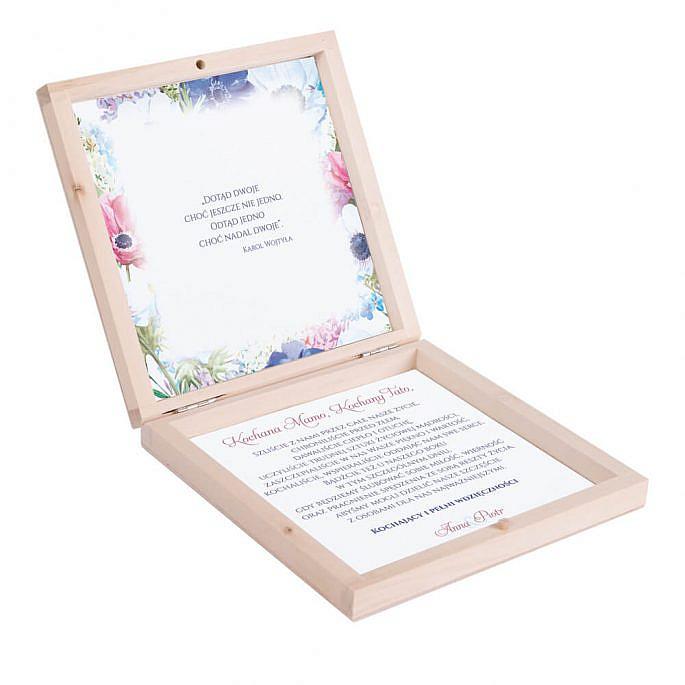 Eleganckie drewniane pudełko podziękowanie zaproszenie dla rodziców motyw kwiatowy kolorowy