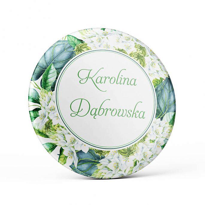 Metalowa okrągła przypinka dla gości agrafka zielono białe kwiaty