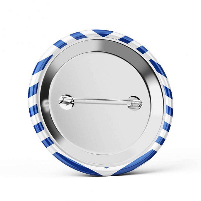 Metalowa okrągła przypinka dla gości agrafka marynarskie morze niebieski