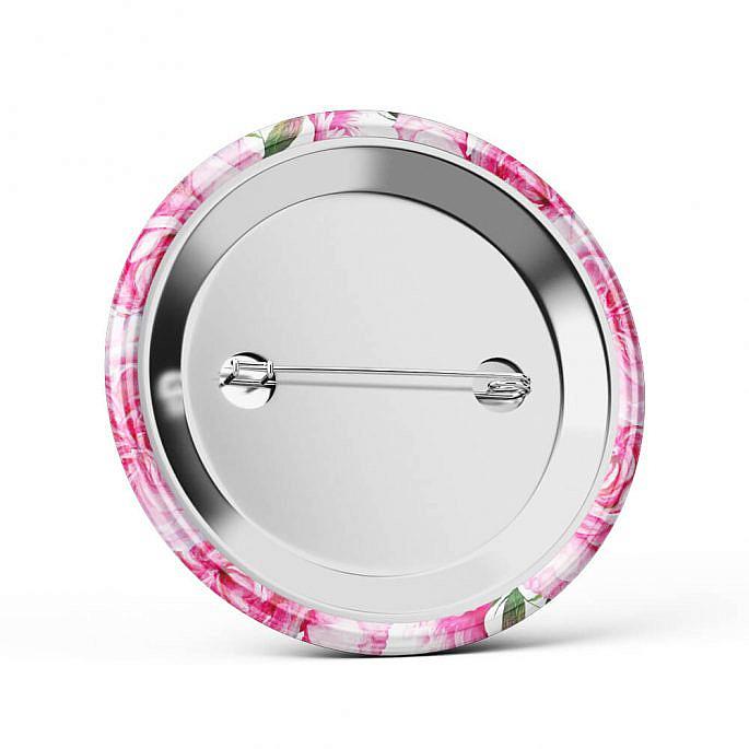 Metalowa okrągła przypinka dla gości agrafka różowa