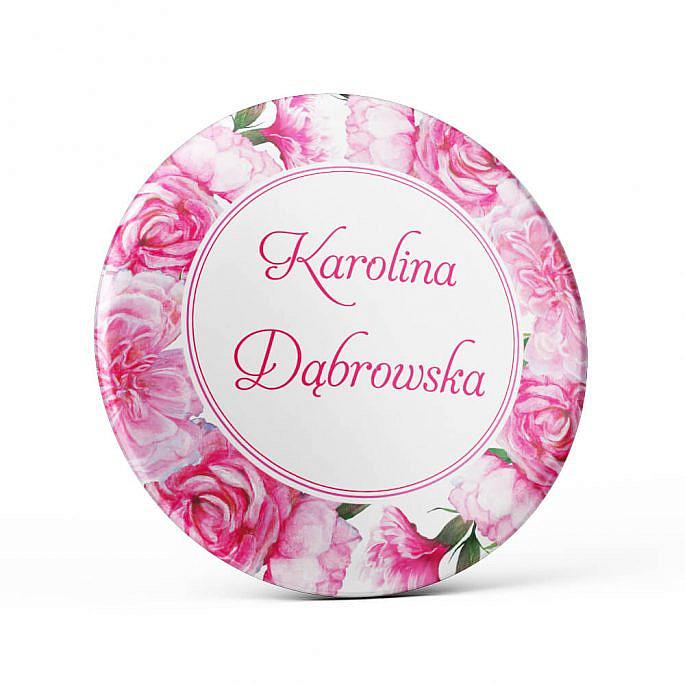Metalowa okrągła przypinka dla gości agrafka różowa goździki wesele