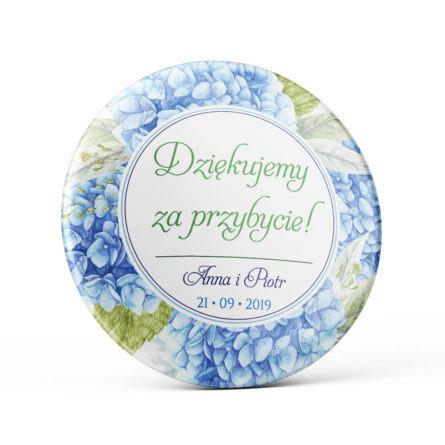 Metalowa okrągła przypinka dla gości agrafka niebieska hortensja zielone liście