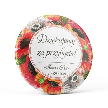 Metalowa okrągła przypinka dla gości agrafka maki kolorowe kwiaty polne