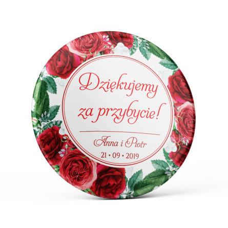Metalowa okrągła przypinka dla gości agrafka czerwone róże personalizacja