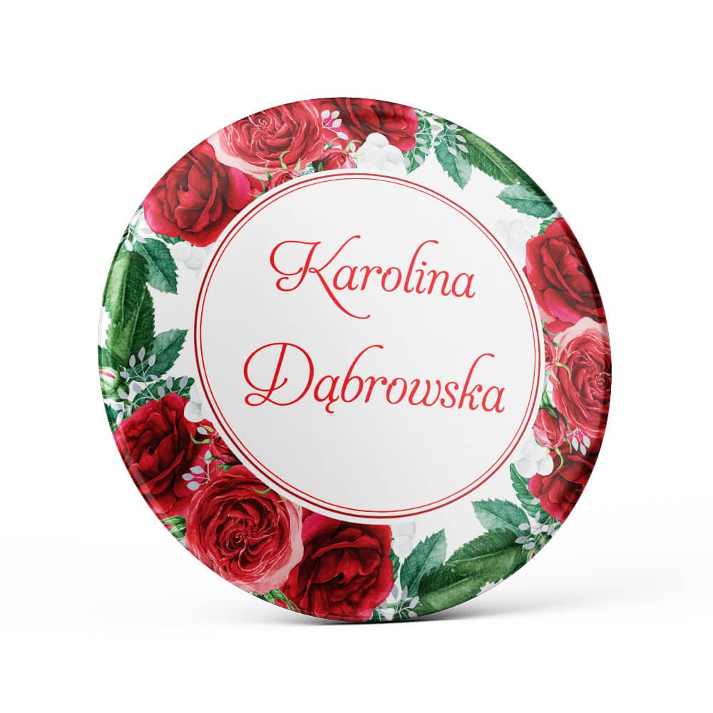 Metalowa okrągła przypinka dla gości agrafka czerwone róże