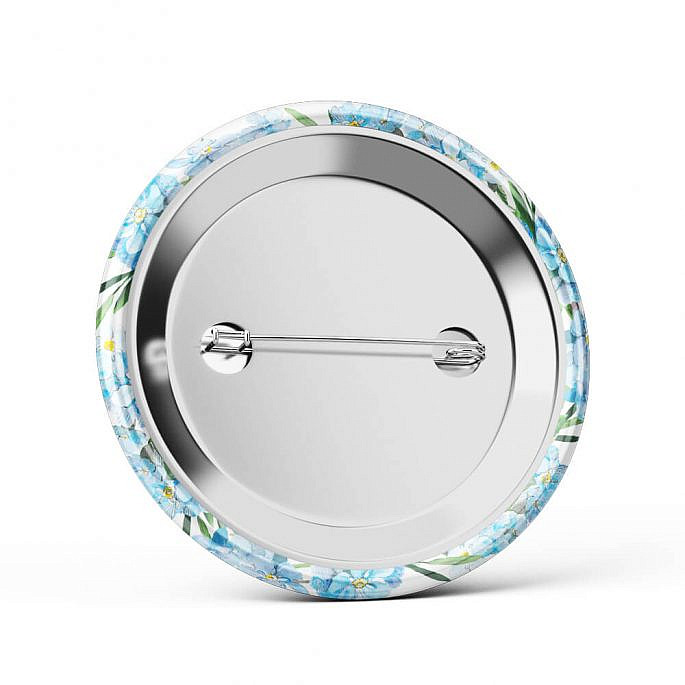 Metalowa okrągła przypinka dla gości agrafka niezpominajki niebieski