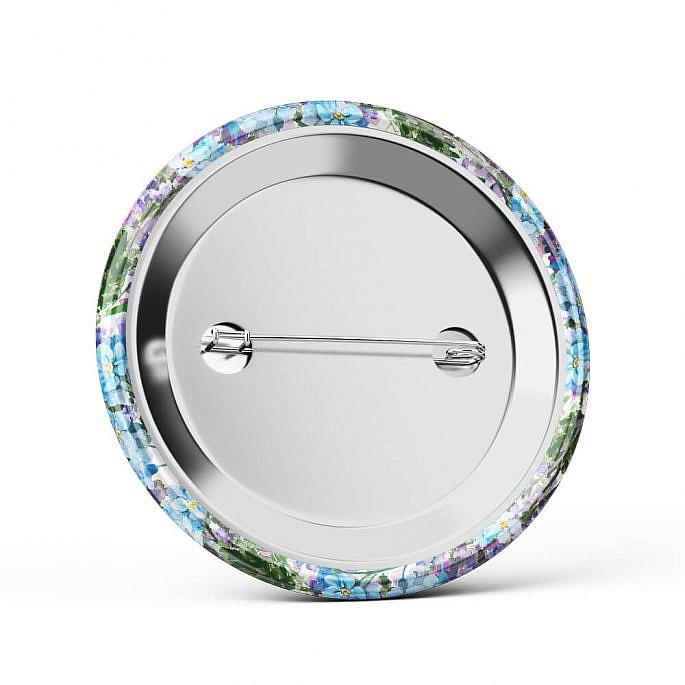 Metalowa okrągła przypinka dla gości agrafka niezapominajki fiolet niebieski