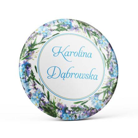 Metalowa okrągła przypinka dla gości agrafka fiolet niebieski niezapominajki