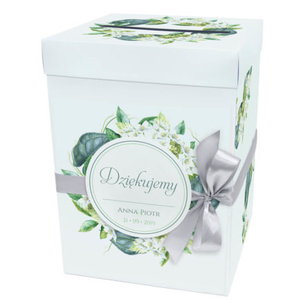 Pudełko karton na koperty pieniądze ślubne kościół kolorowe kwiaty florals wstążka