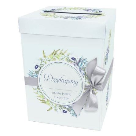 Pudełko karton na koperty pieniądze ślubne kolorowe kwiaty anemony sukulenty wstążka
