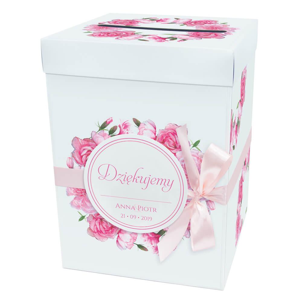 Pudełko karton na koperty pieniądze ślubne kościół kwiaty różowe goździki kokardka