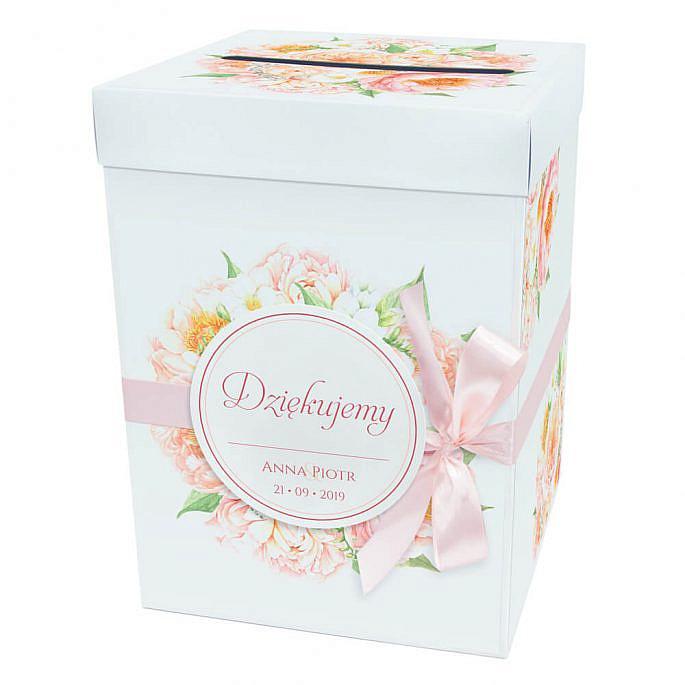 Pudełko karton na koperty pieniądze ślubne kościół kwiaty frezje piwonie
