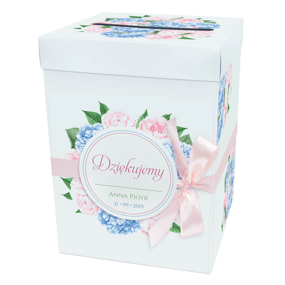 Pudełko karton na koperty pieniądze ślubne kolorowe kwiaty hortensje piwonie kwiaty kościół