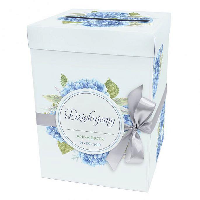 Pudełko karton na koperty pieniądze ślubne kolorowe kwiaty hortensje