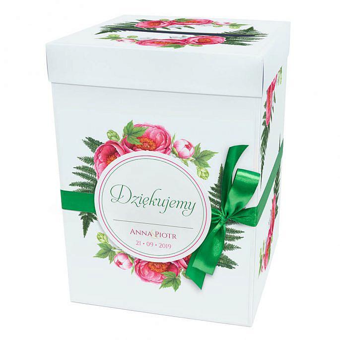Pudełko karton na koperty pieniądze ślubne kwiaty piwonii kokardka