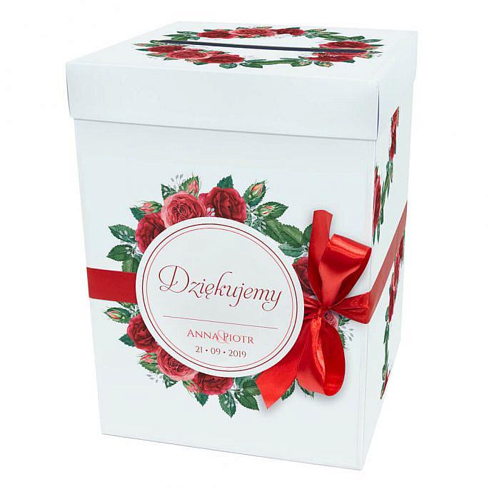 Pudełko na koperty pieniądze ślubne prezent kwiat róży kokardka