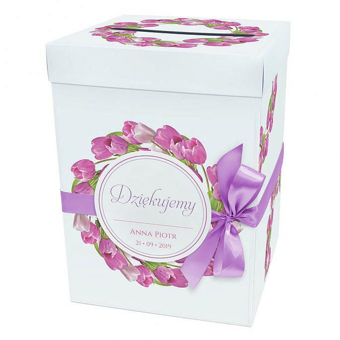 Pudełko na koperty pięniądze prezent weselny kolorowe kwiaty tulipany