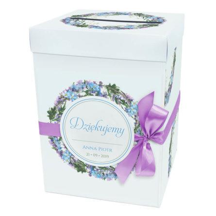 Pudełko na koperty karton pięniądze ślubne niezapominajki kolorowe kwiaty