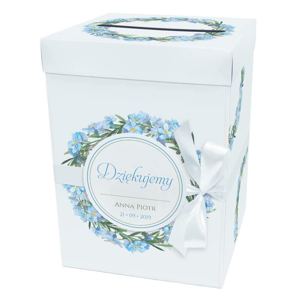 Pudełko karton na koperty pieniądze ślubne niezapominajki niebieskie