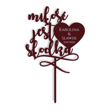 napis na tort weselny topper miłość jest słodka