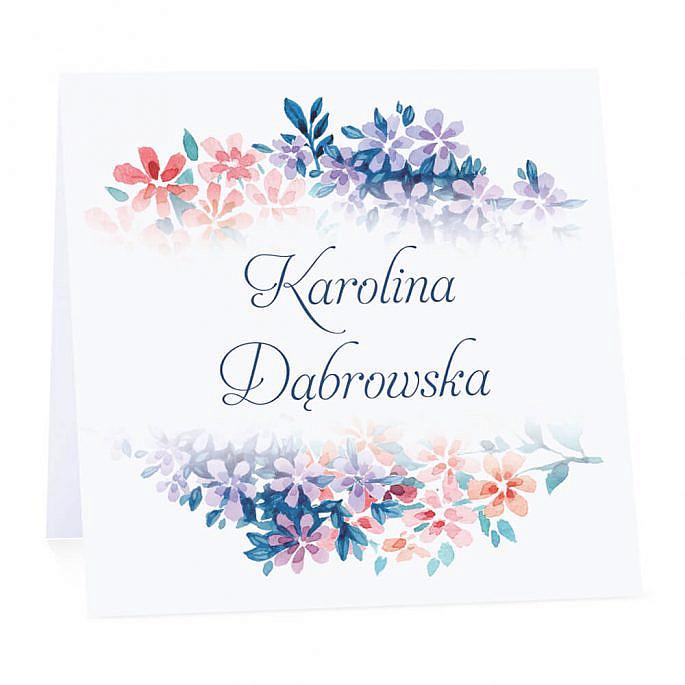 Winietka weselna na stół wizytówka podziękowanie personalizacja florals
