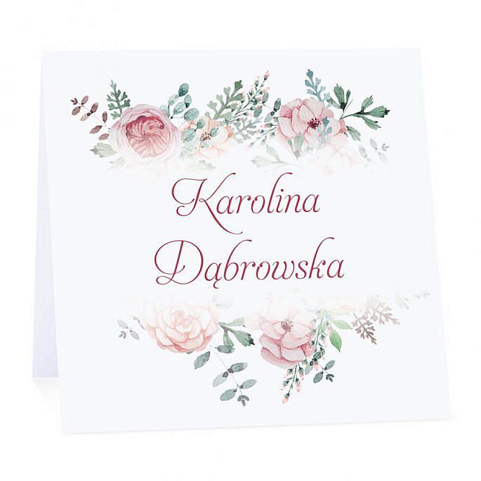 Winietka weselna na stół wizytówka podziękowanie personalizacja kwiaty różowo zielone