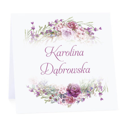 Winietka weselna na stół wizytówka podziękowanie personalizacja florals kolorowe